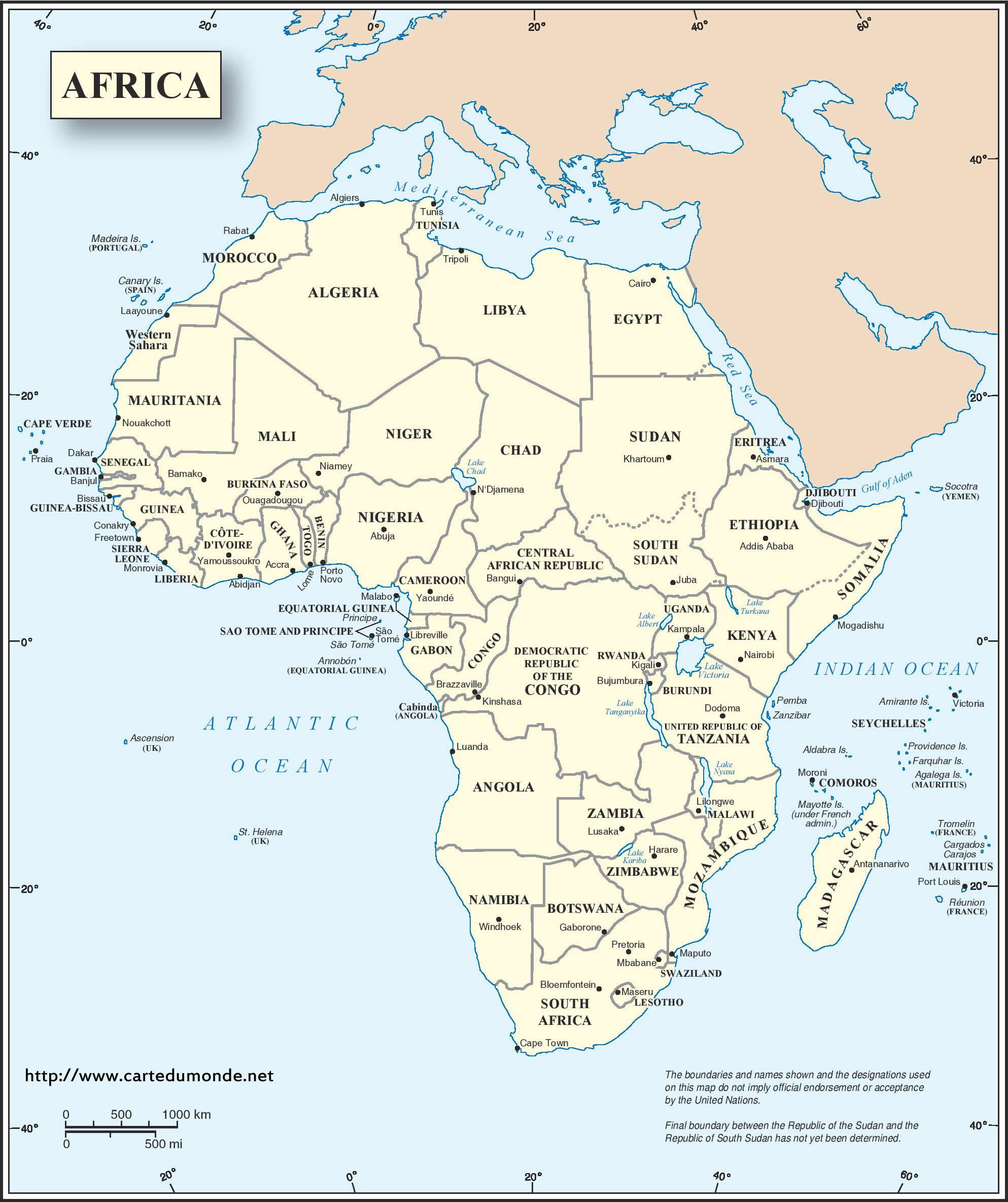 Big english africa map continent print english africa map gumiabroncs Image collections