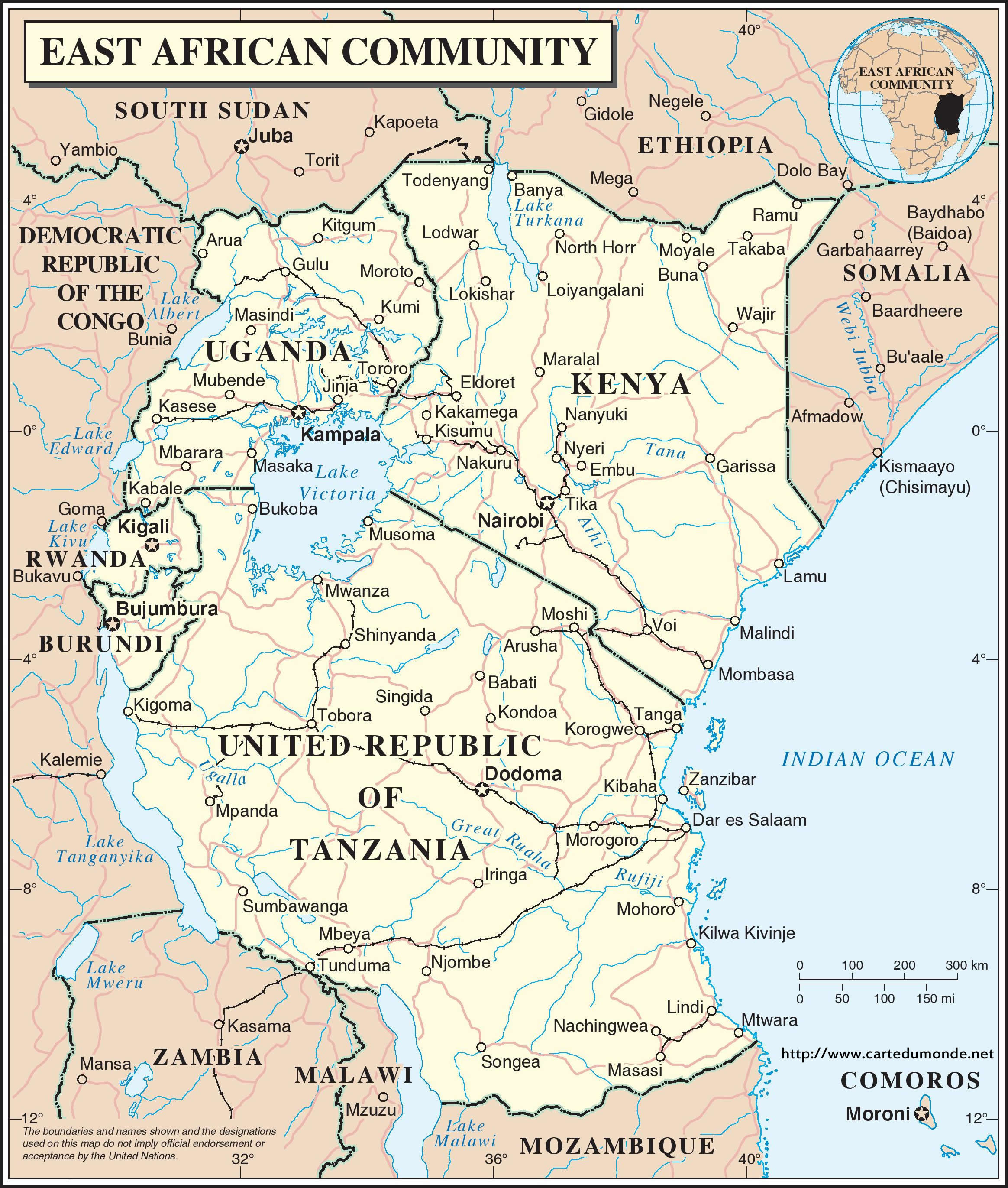 East Africa Map World Map - Map of eastern africa