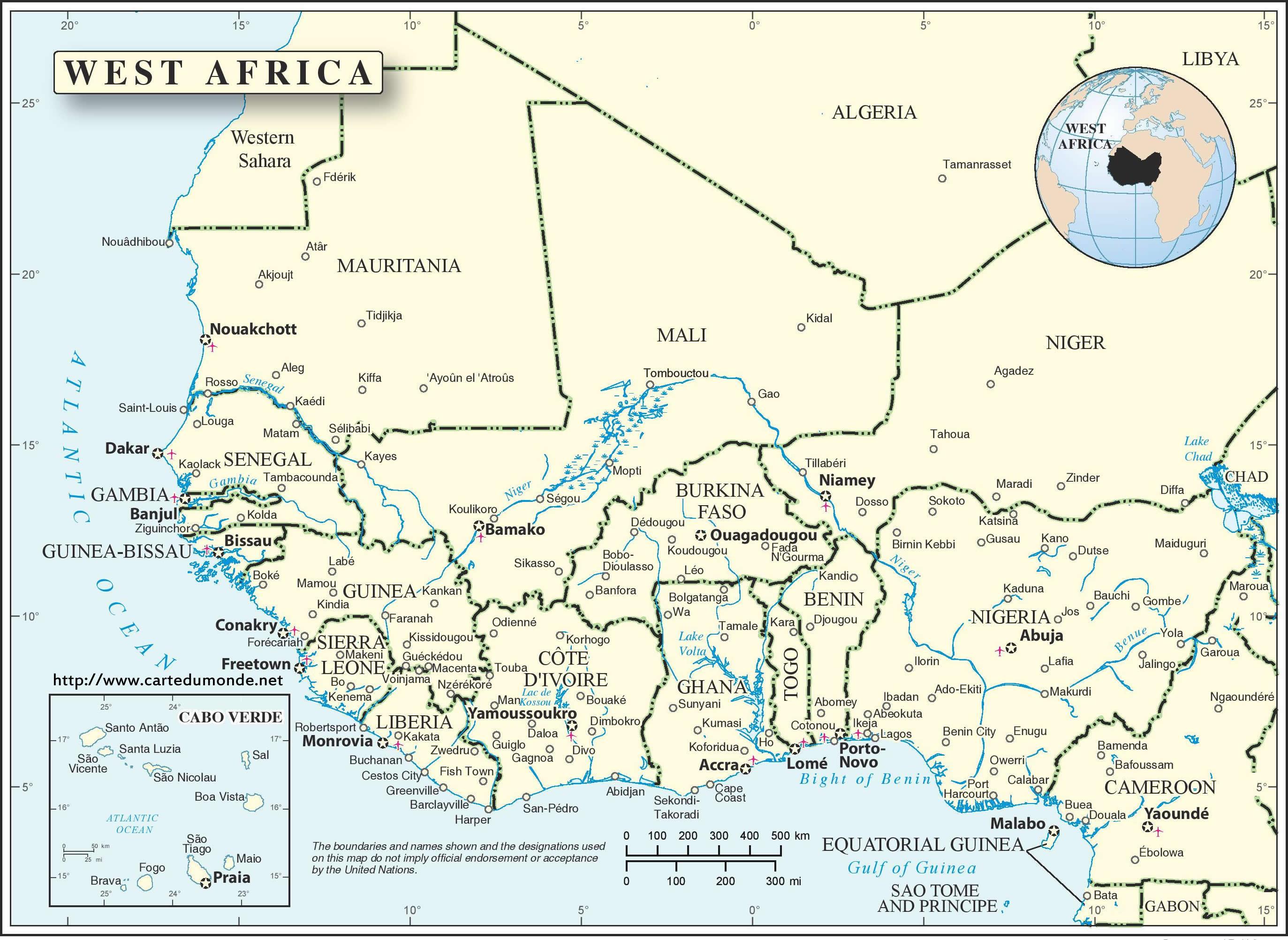 Carte Afrique De Louest.Grande Carte Afrique De L Ouest Continent