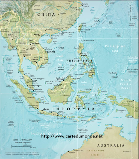 photo relating to Printable Map of Southeast Asia called Huge Southeast Asia Actual physical Map continent