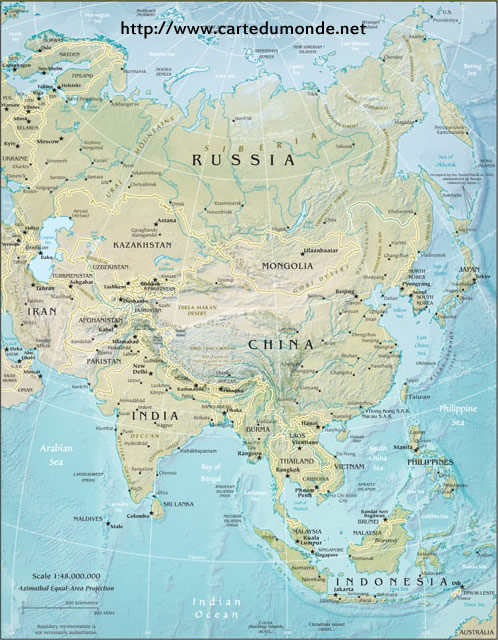 Asia Physical Map, World Map