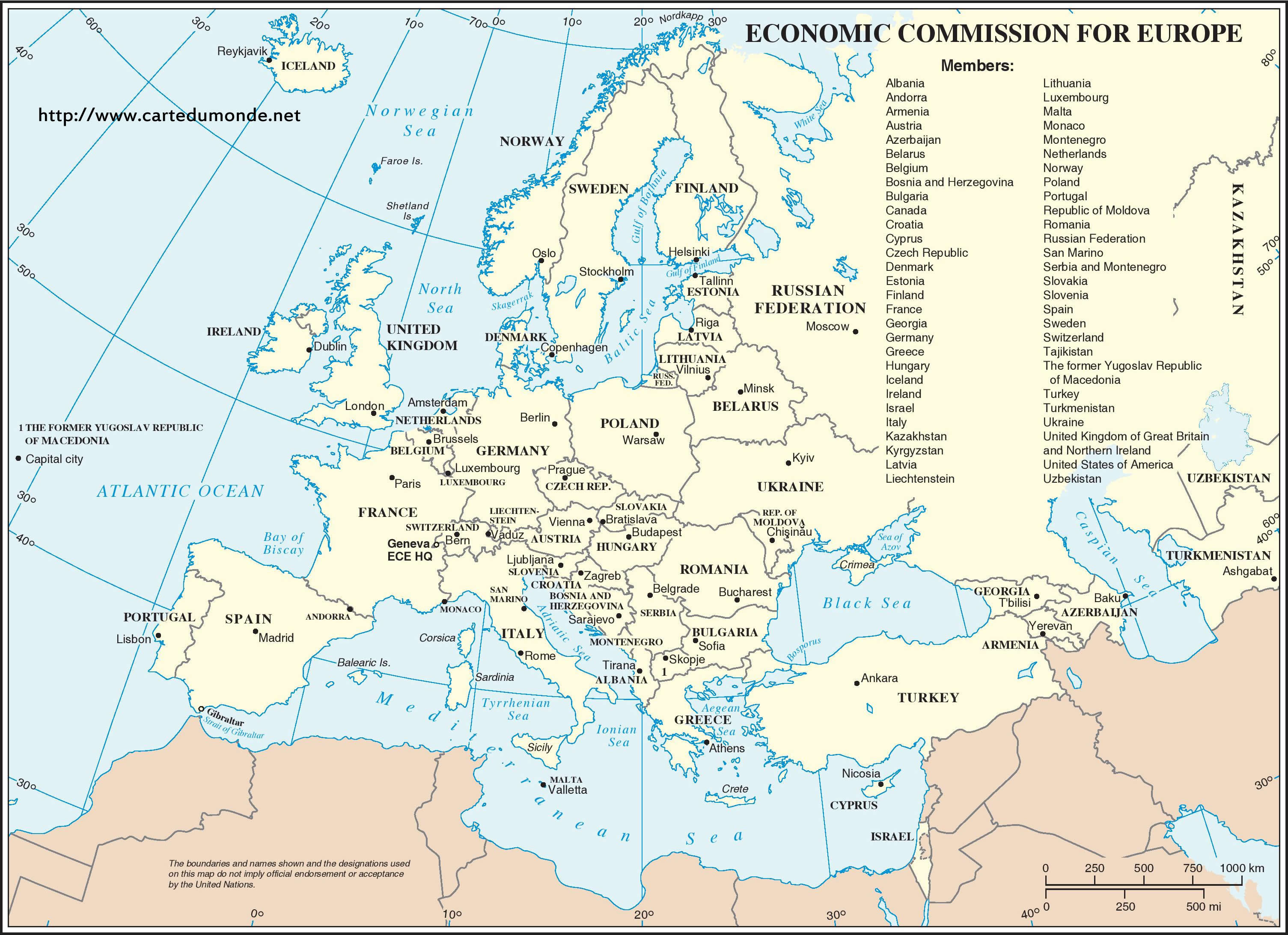 carte europe à imprimer Big Economic Commission of Europe continent