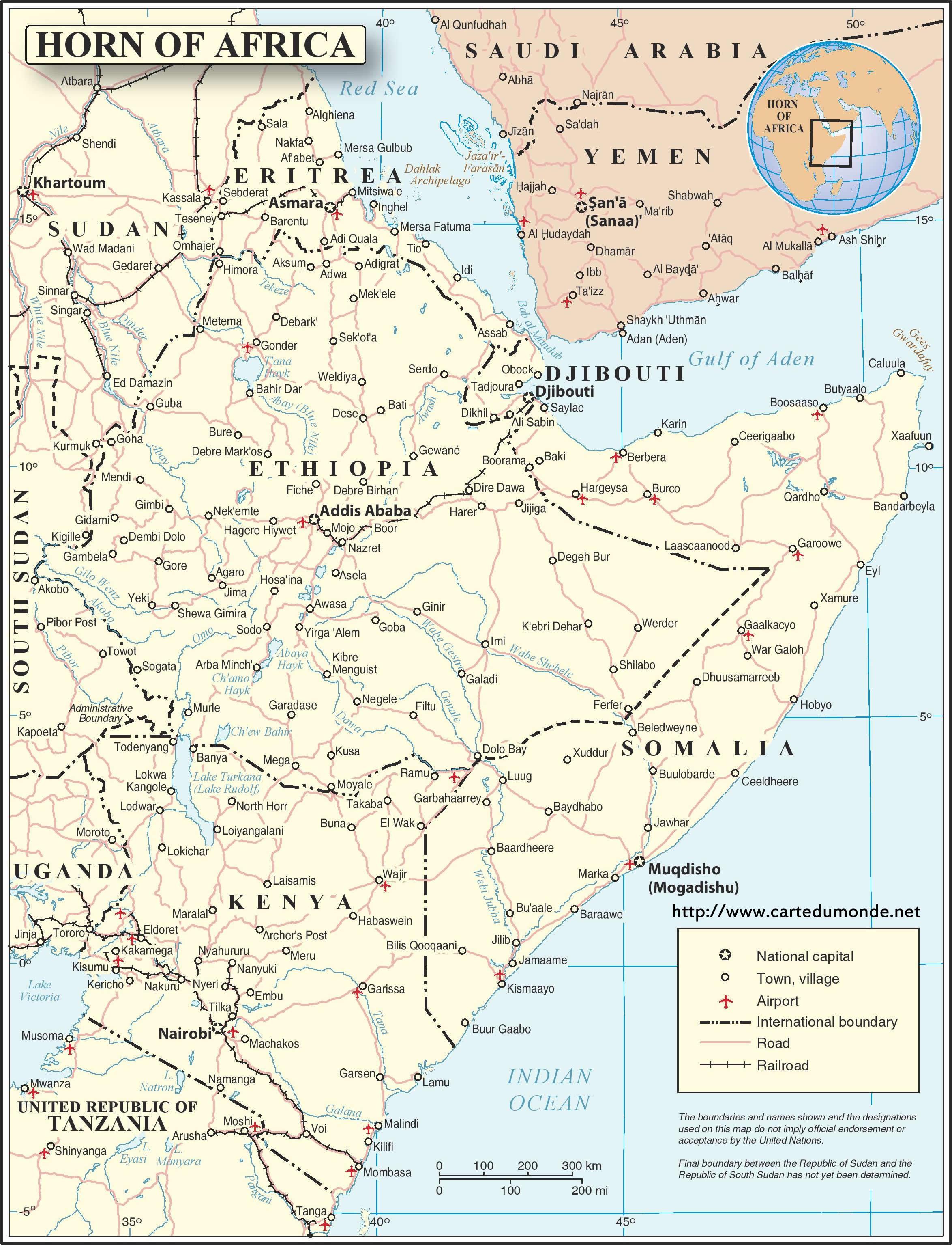 Carte Afrique Anglais.Grande Carte Corne De L Afrique Anglais Continent