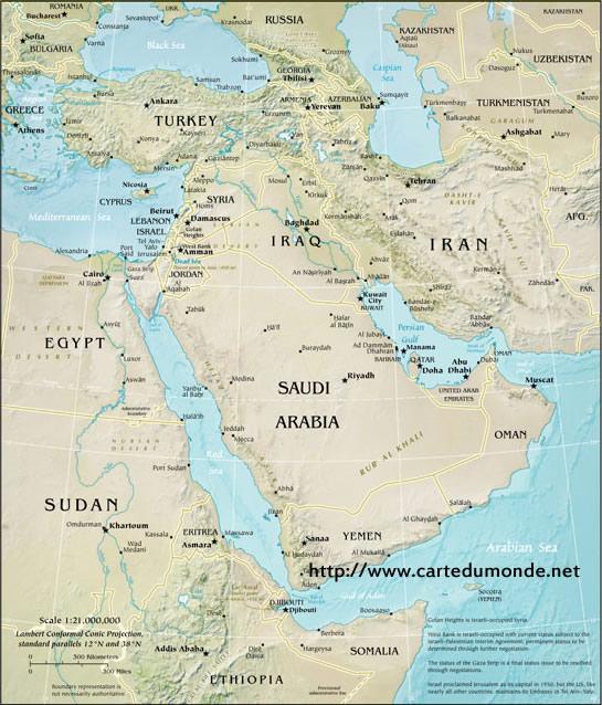 Carte Moyen-orient physique