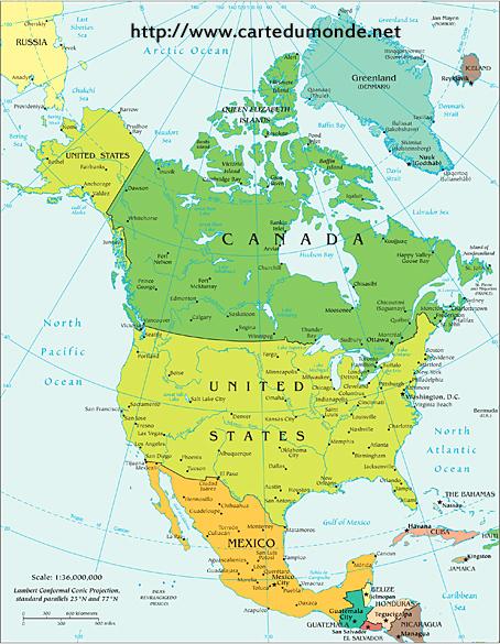 Gross Nordamerika Politische Landkarte Kontinent