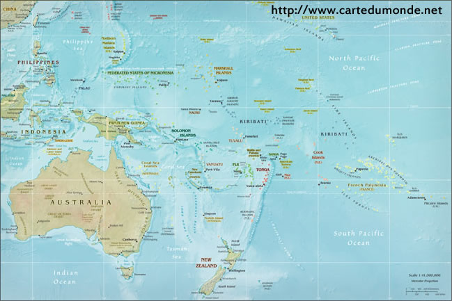 Physical Oceania Map World Map