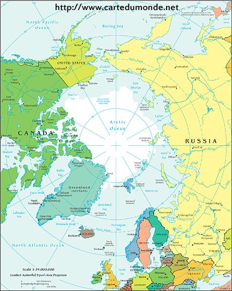 Politische Karte Arktis