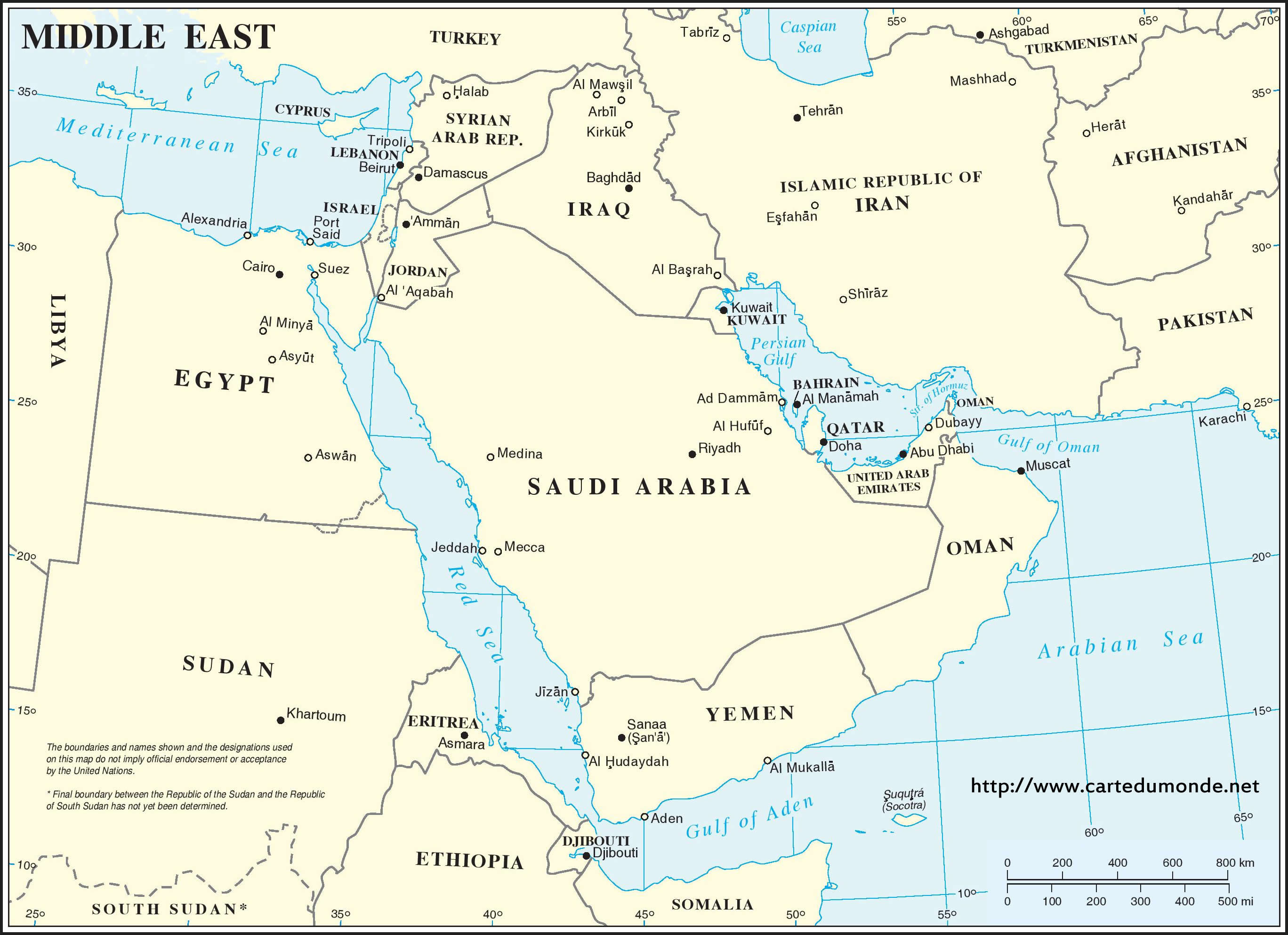 Middle East Region Map World Map