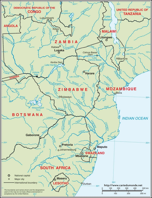 Map southeastern Africa, English drainage