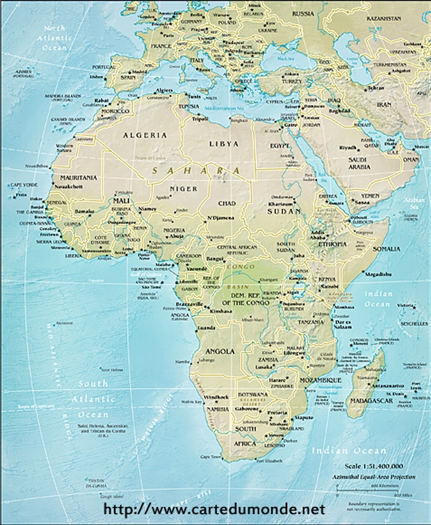 Physical Africa Map