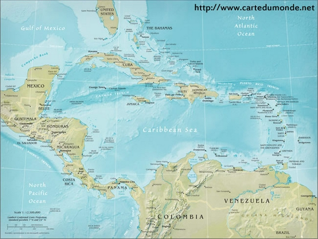 Central American Physical Map, World Map