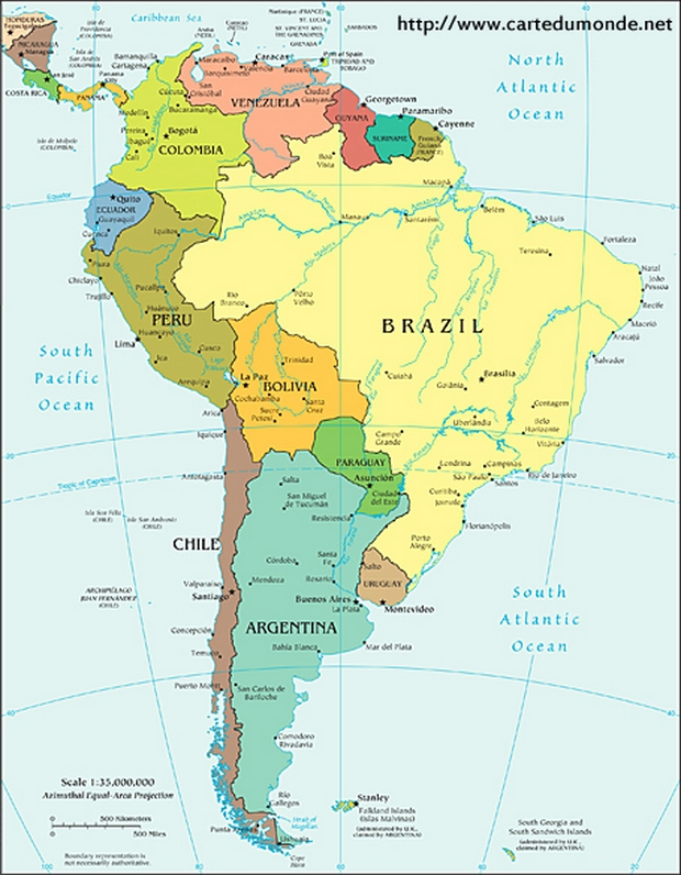 South America Political Map World Map