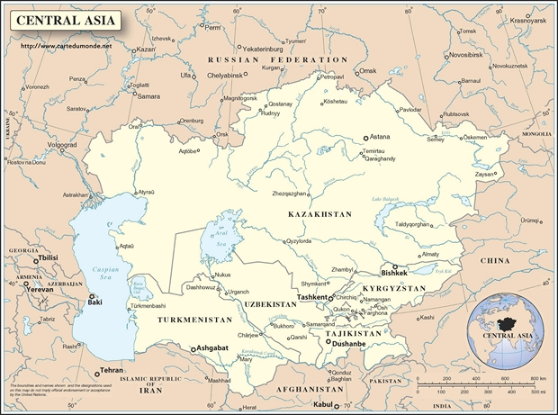 Central asia map world map central asia map gumiabroncs Images