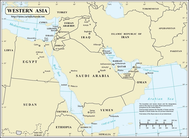 Carte Asie occidentale