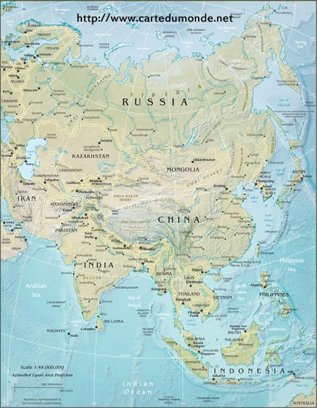 Asia Mapa físico