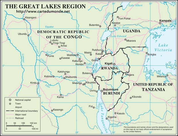 Carte du monde Great Lakes Region 1 Anglais