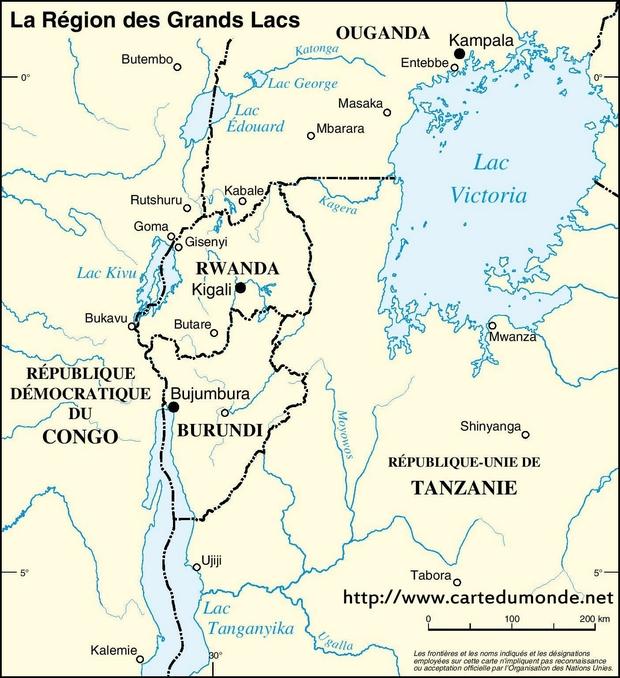 Carte Région des Grands Lacs