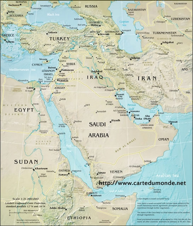 Map Physical Middle East World Map