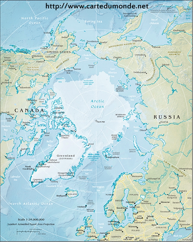 Physical map of the Arctic Region