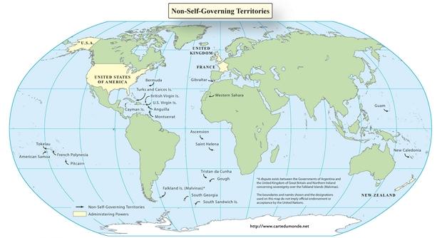 Niet-autonome gebieden te Map Engels