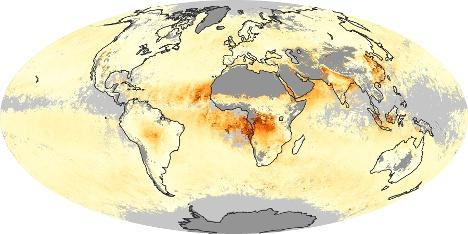 Carte du Monde Épaisseur optique des aérosols