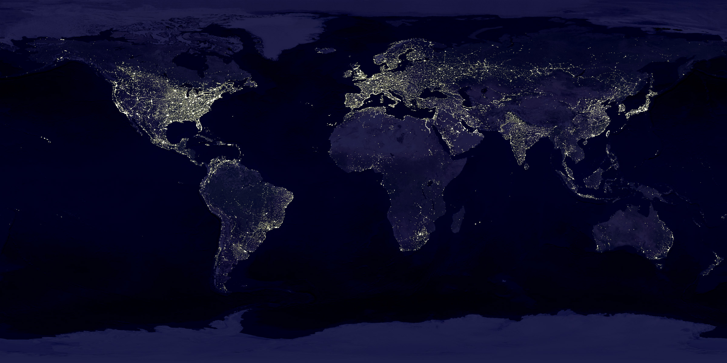 print world map night lights