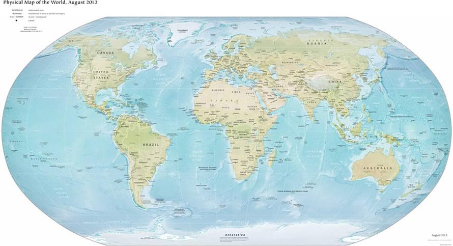 World Physical Map World Map - World physical map printable