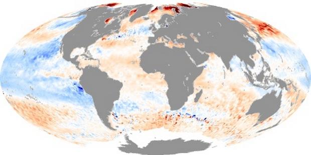 Carte du Monde Anomalie de Température de surface mer
