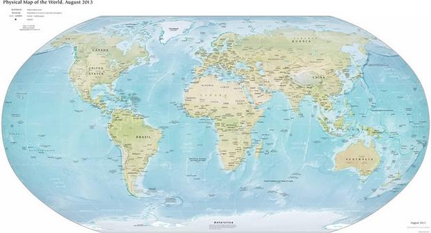 Carte du Monde physique