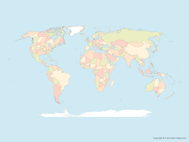 World outline map, World Map