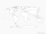 planisphere world map print
