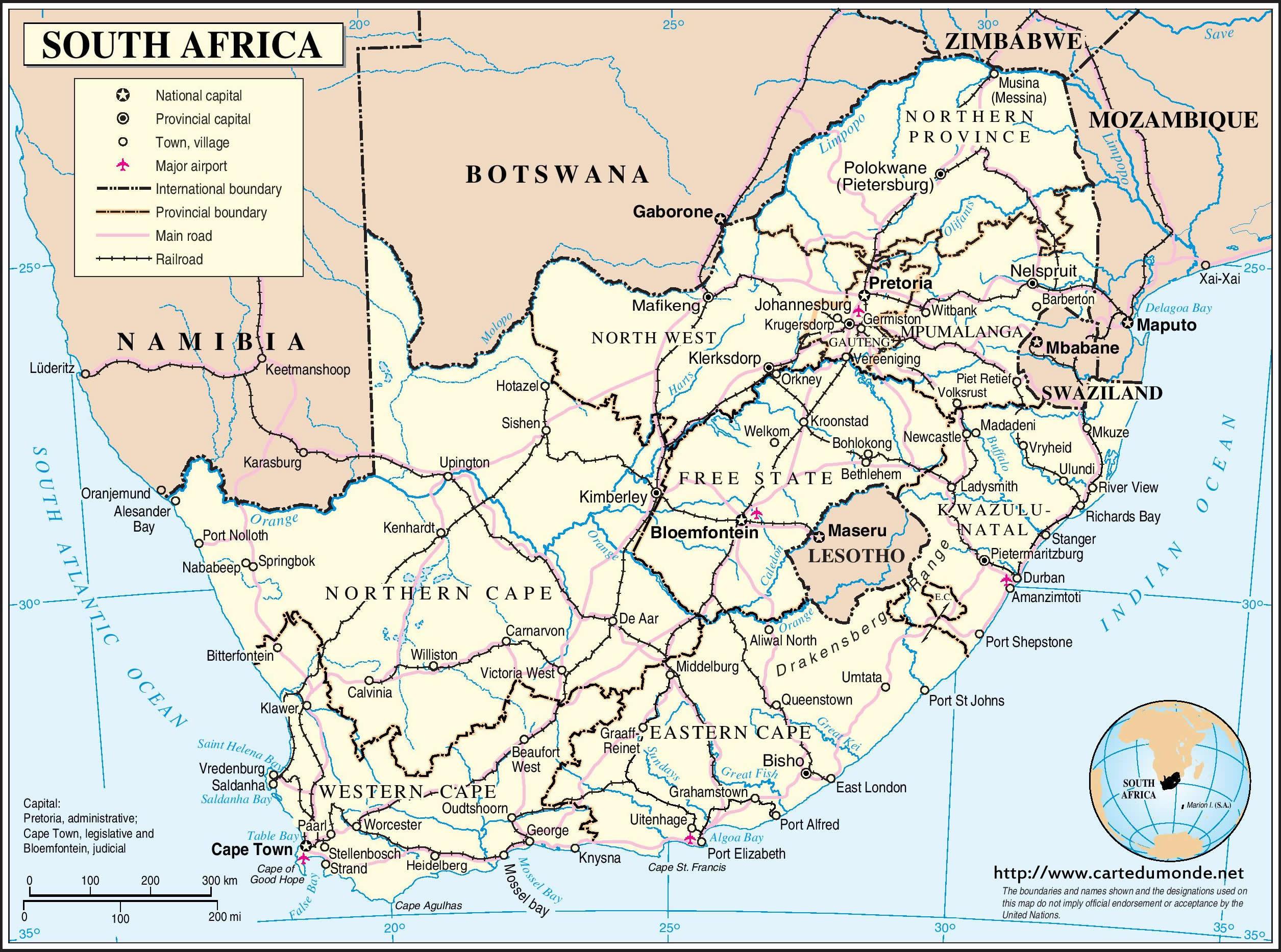 afrique du sud carte satellite