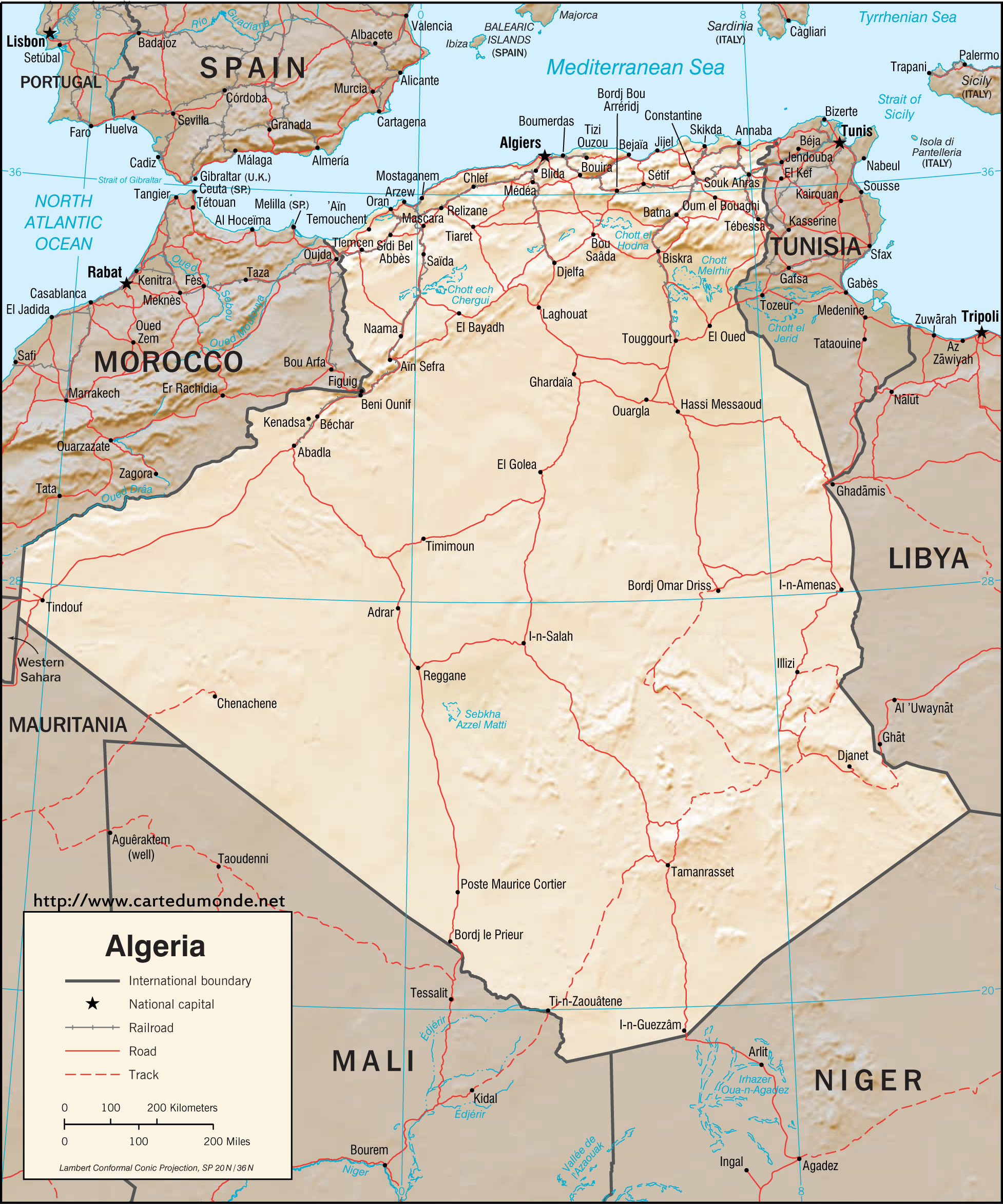 Larger map Algeria on World Map