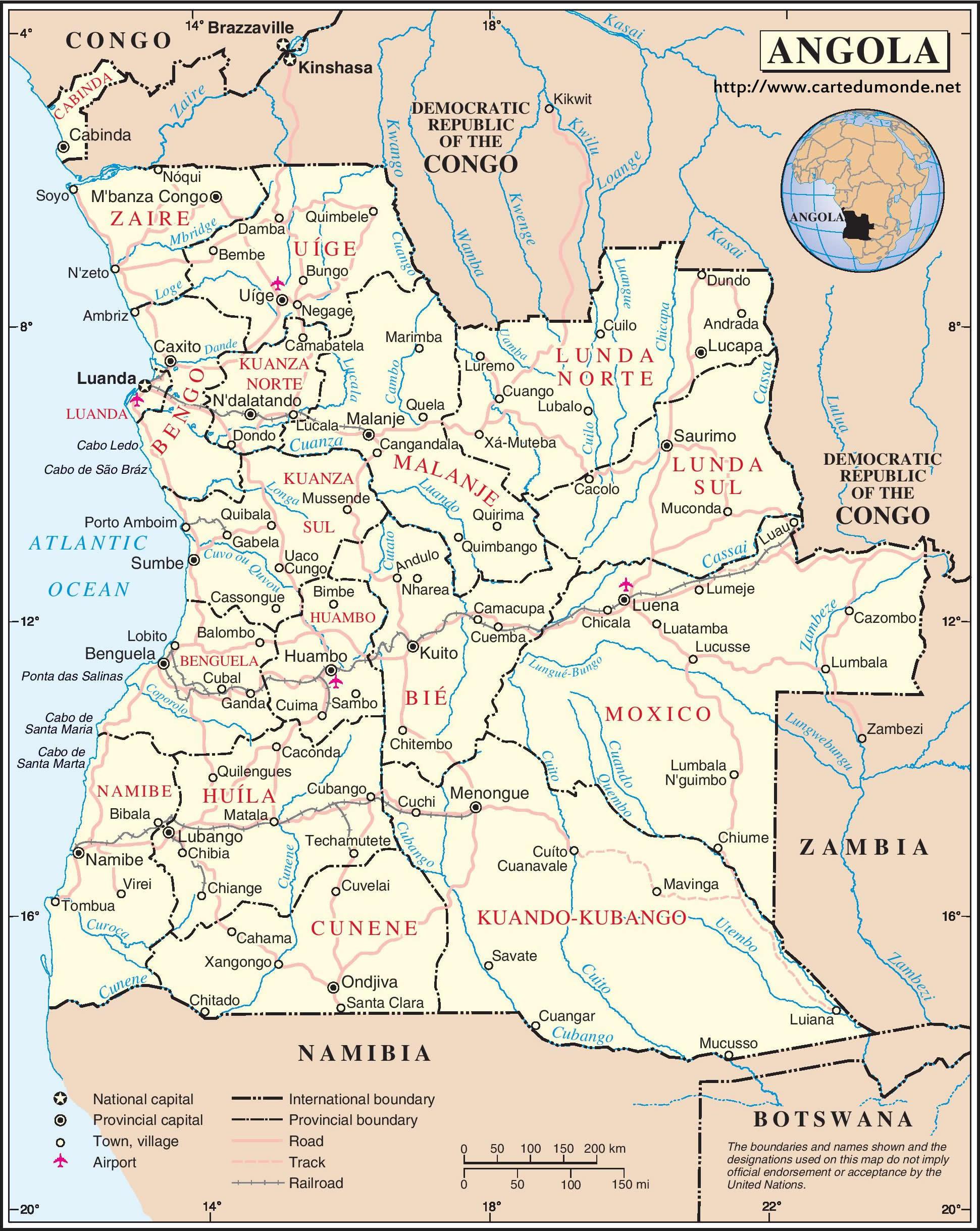 Karte Vergrossern Angola Auf Weltkarte