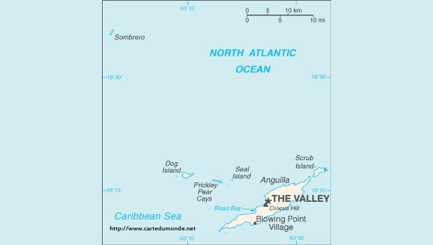 Mapa Anguila Mapa de Estados Anguila