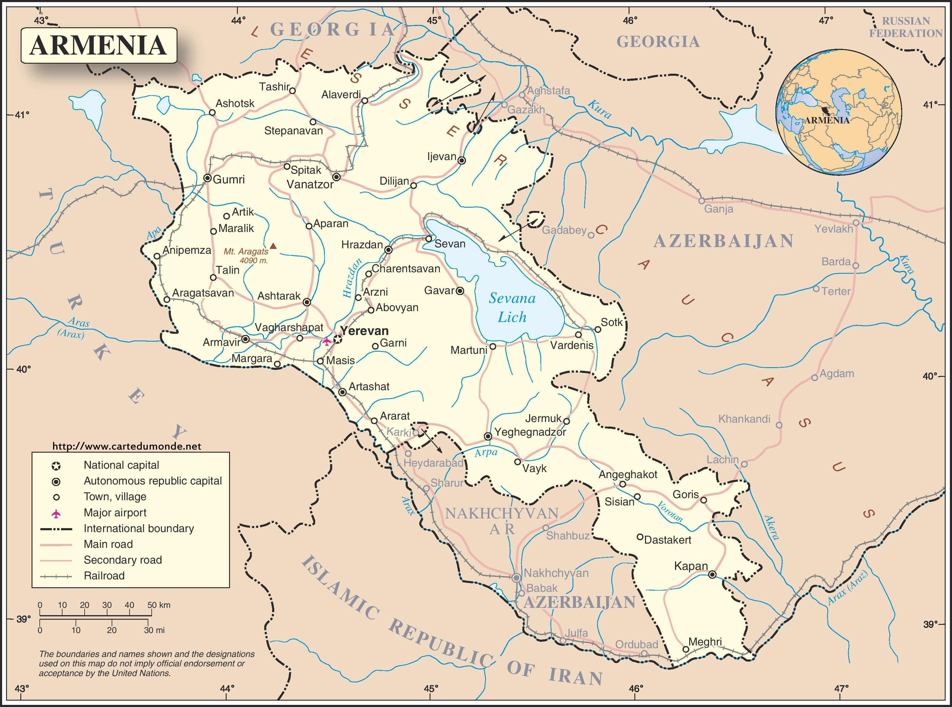 Karte Vergrossern Armenien Auf Weltkarte