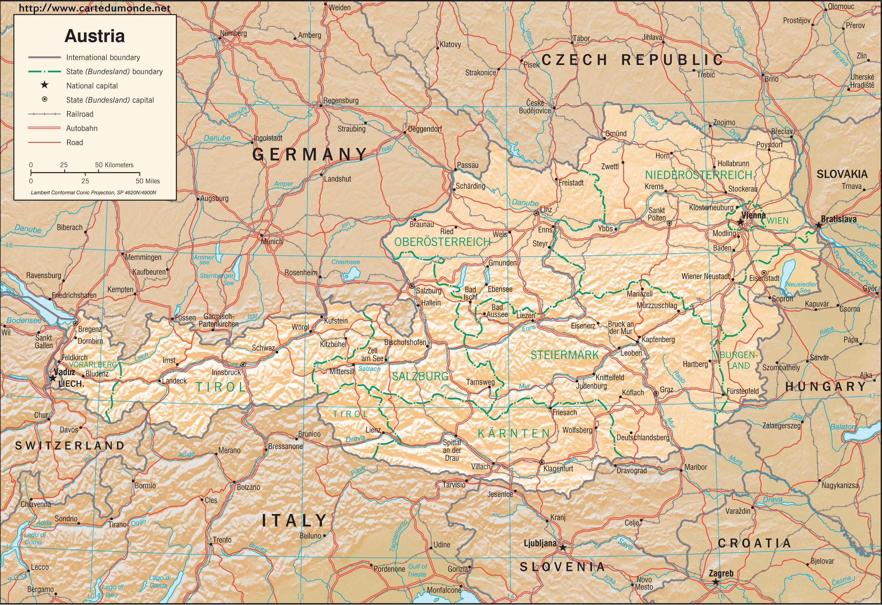 Duzy Mapa Austria Na Mapie Swiata