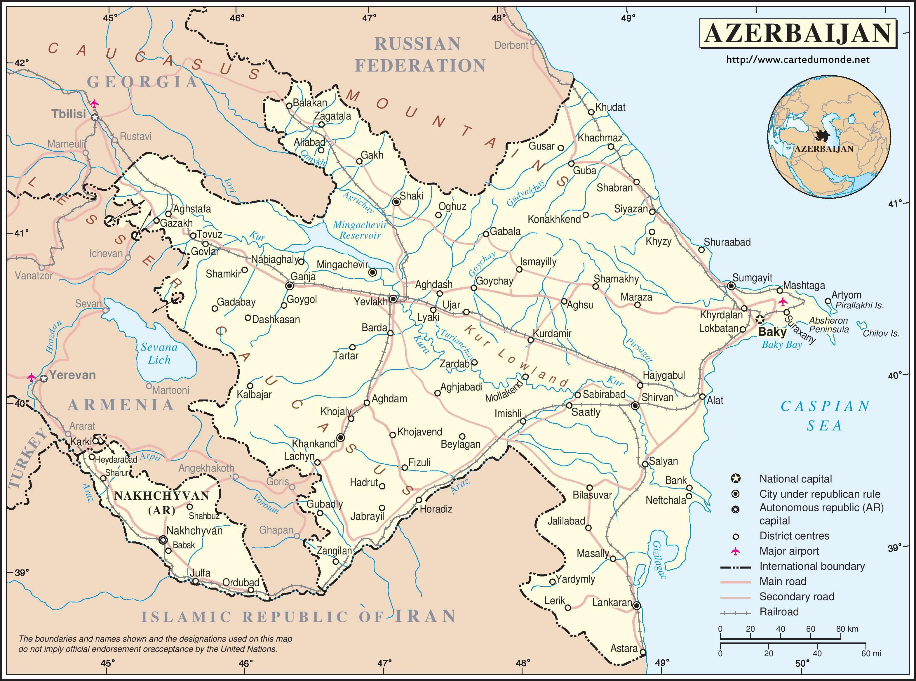 Karte Aserbaidschan Karte Auf Land Aserbaidschan