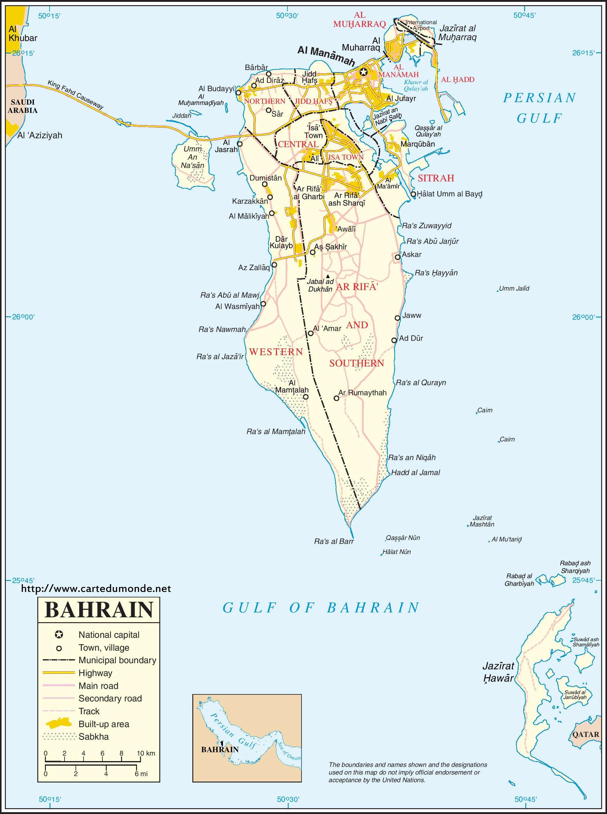 Grande carte Bahreïn