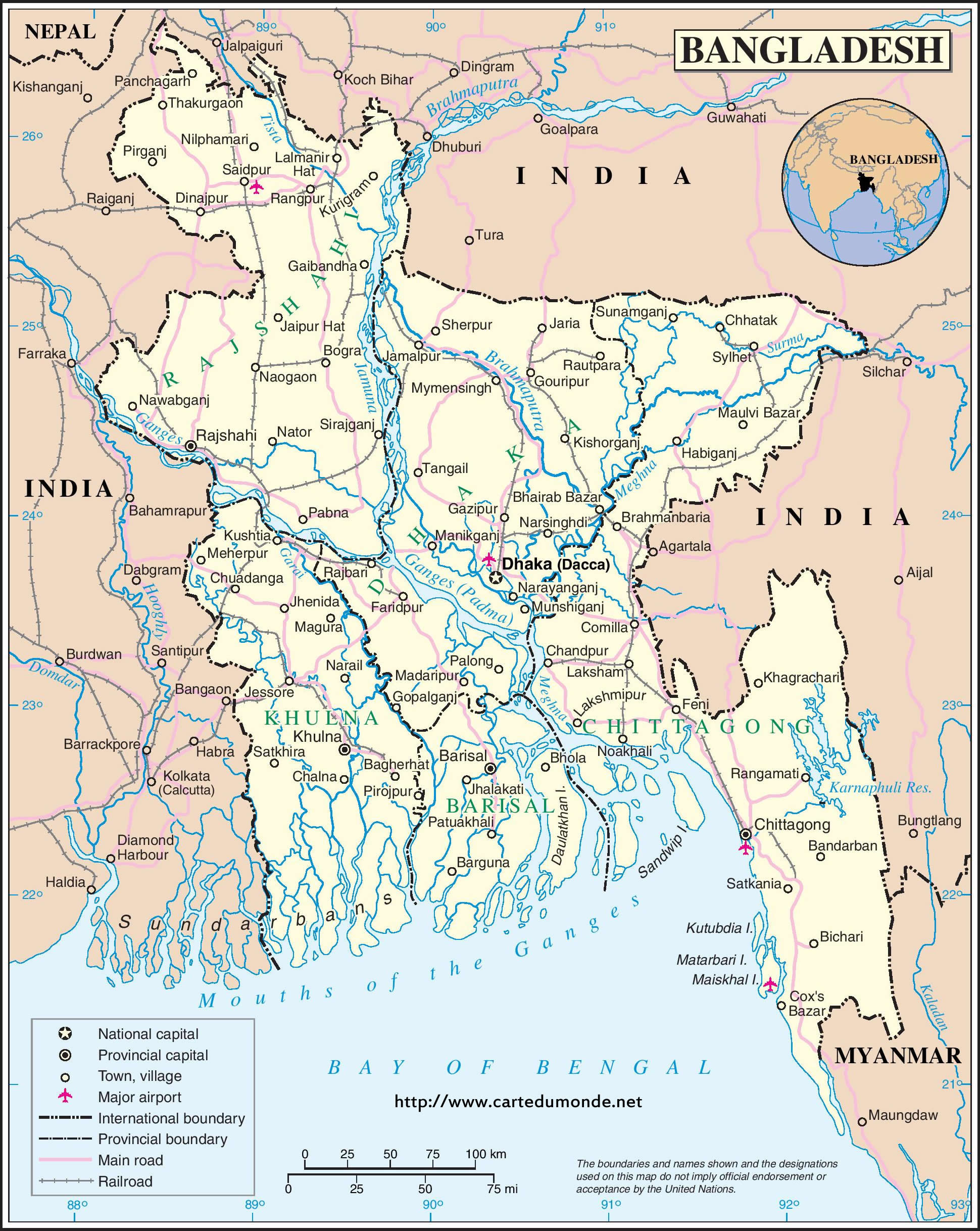 Larger map bangladesh on world map print the map bangladesh gumiabroncs Gallery