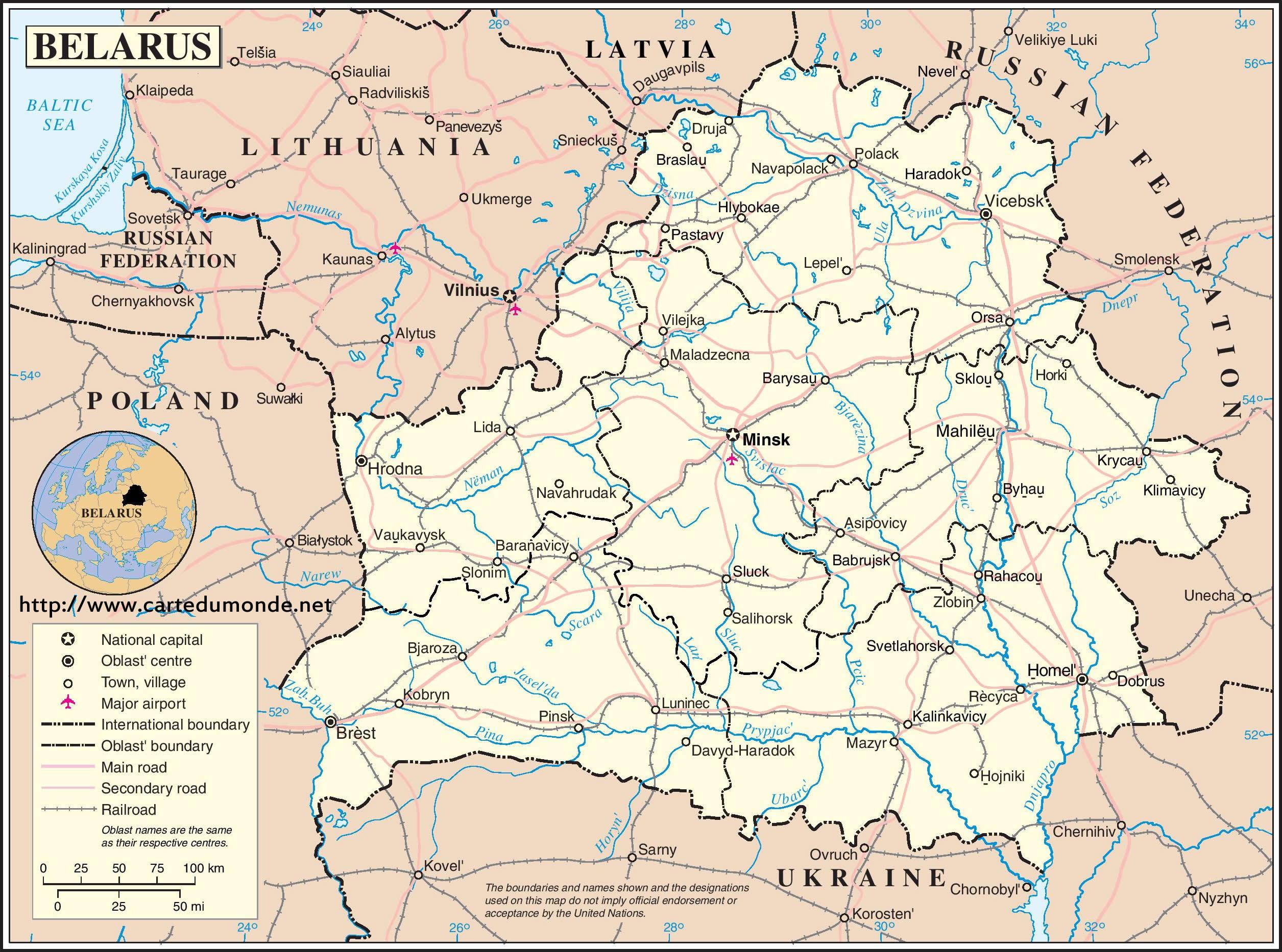 Grande carte Biélorussie