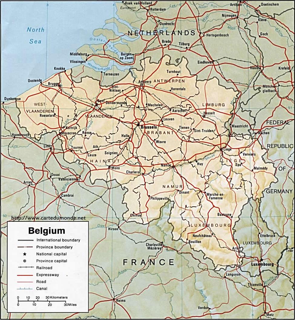 Duży mapa Belgia