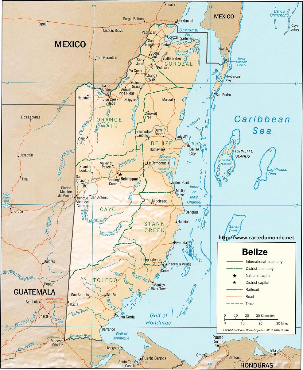 Belize Karte.Larger Map Belize On World Map