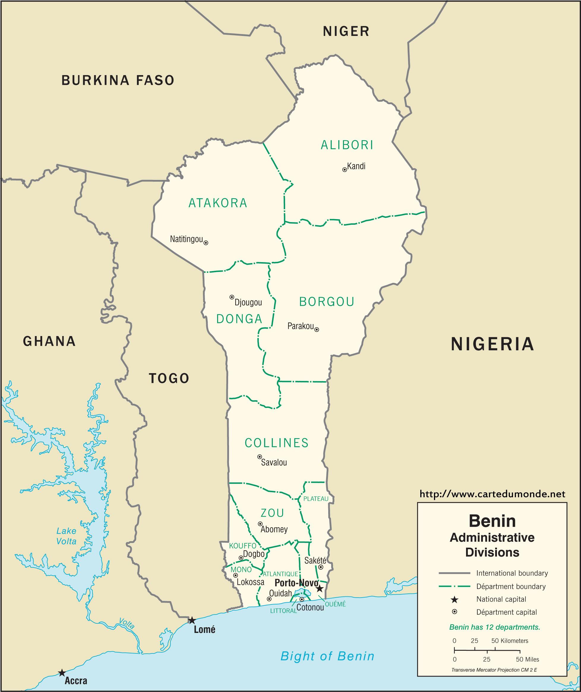 Larger map Benin on World Map