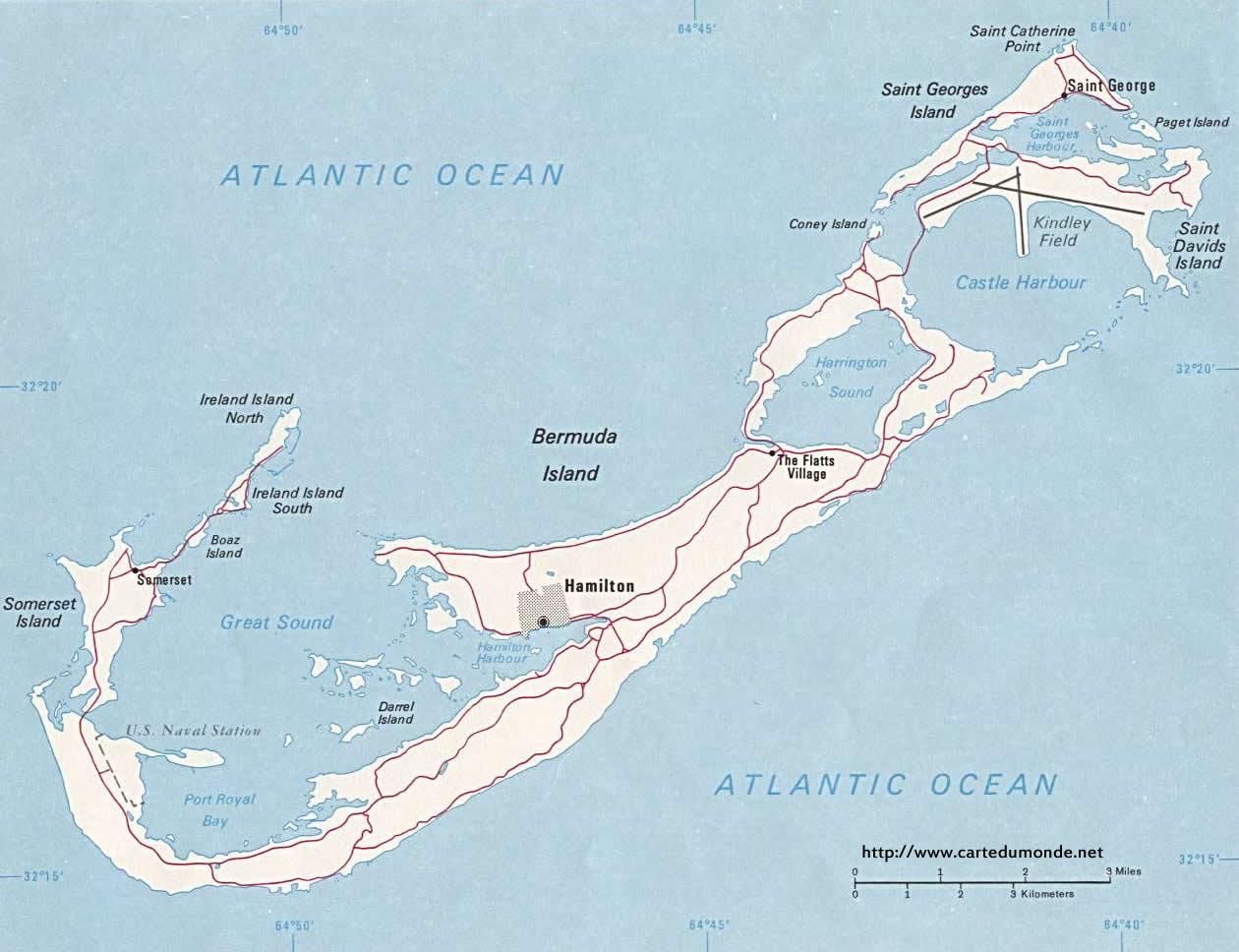 Map Bermuda, Country Map Bermuda