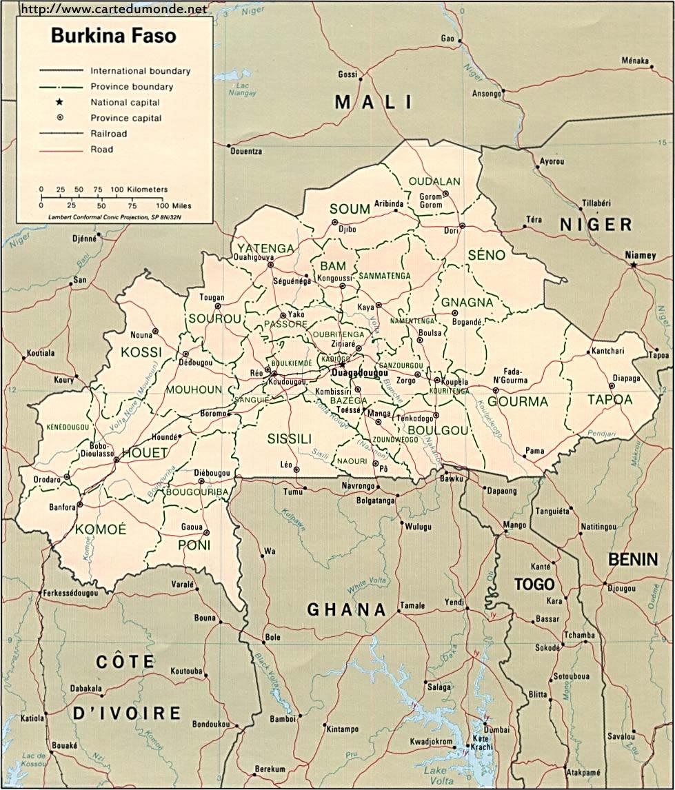 Karte vergrößern Burkina Faso