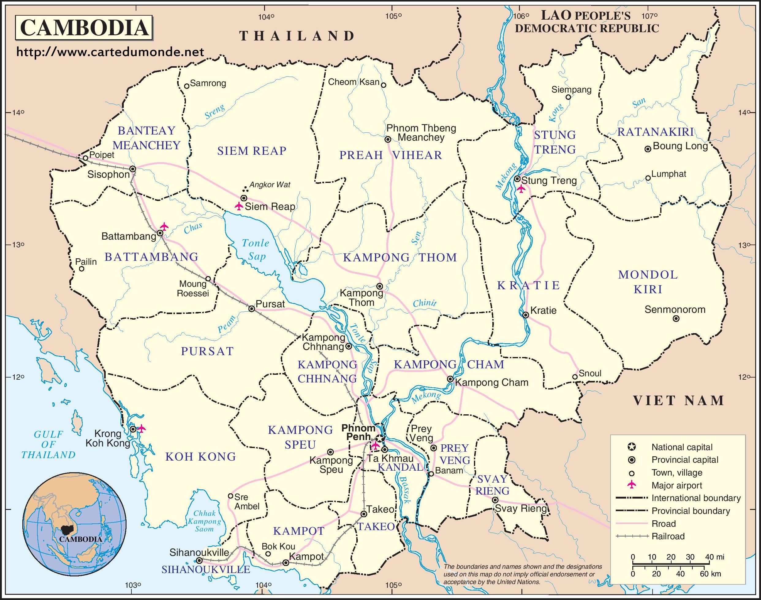 Carte Du Monde Laos.Grande Carte Cambodge Sur Carte Du Monde