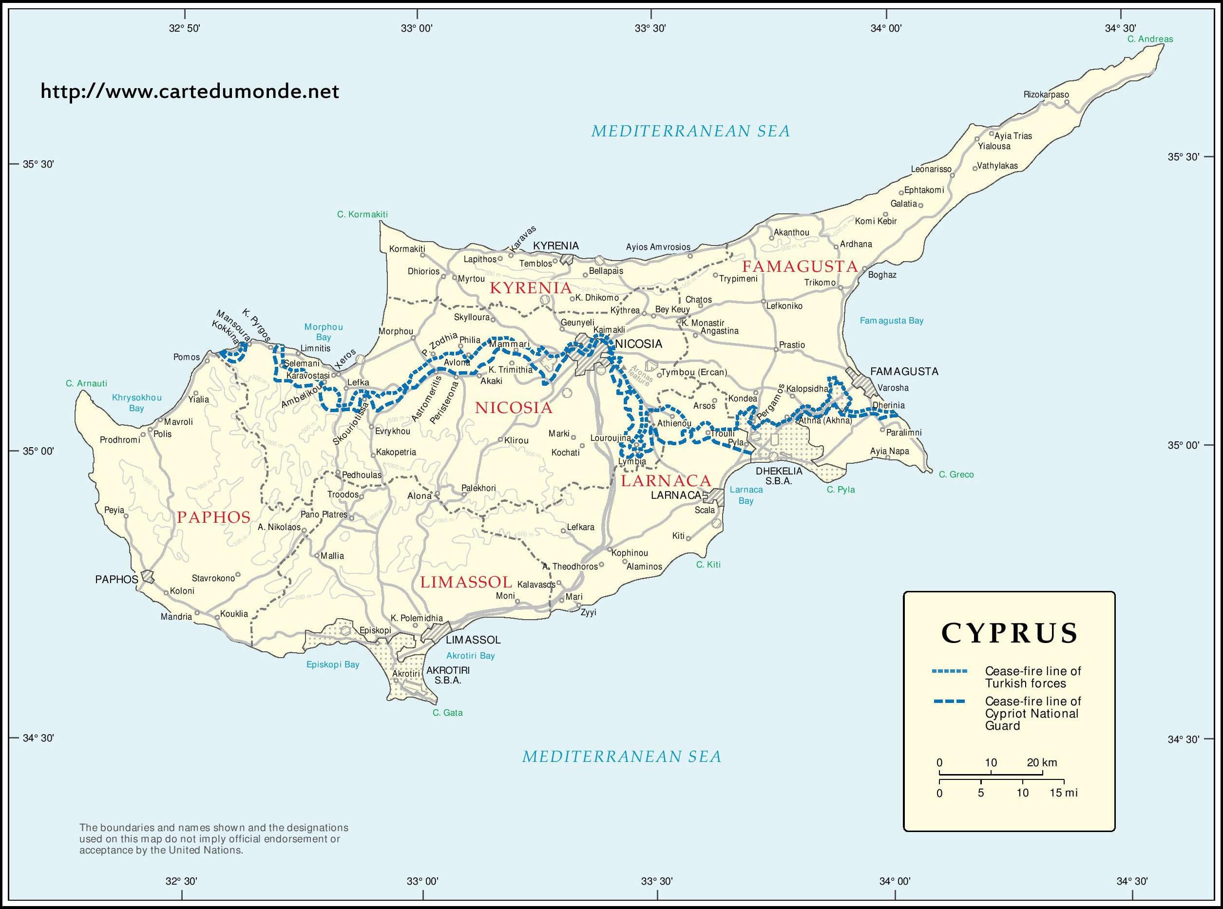 Karte Zypern Karte Auf Land Zypern