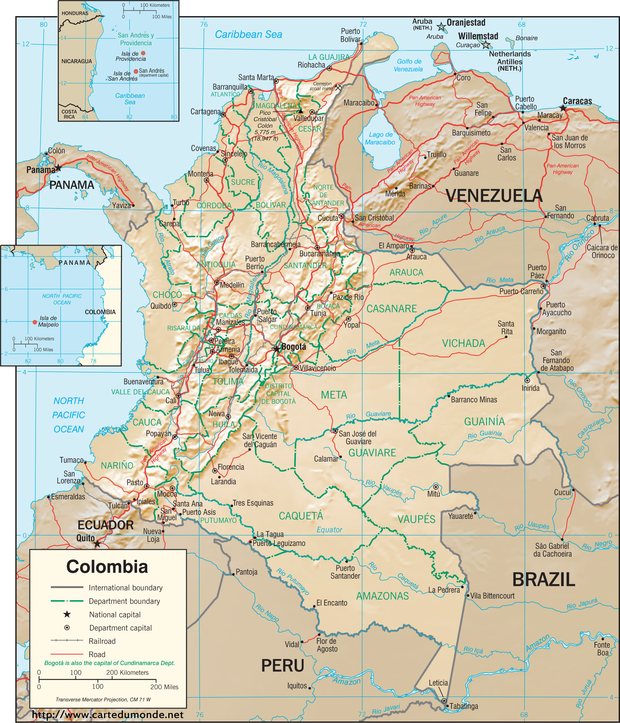 Map Colombia, Country Map Colombia