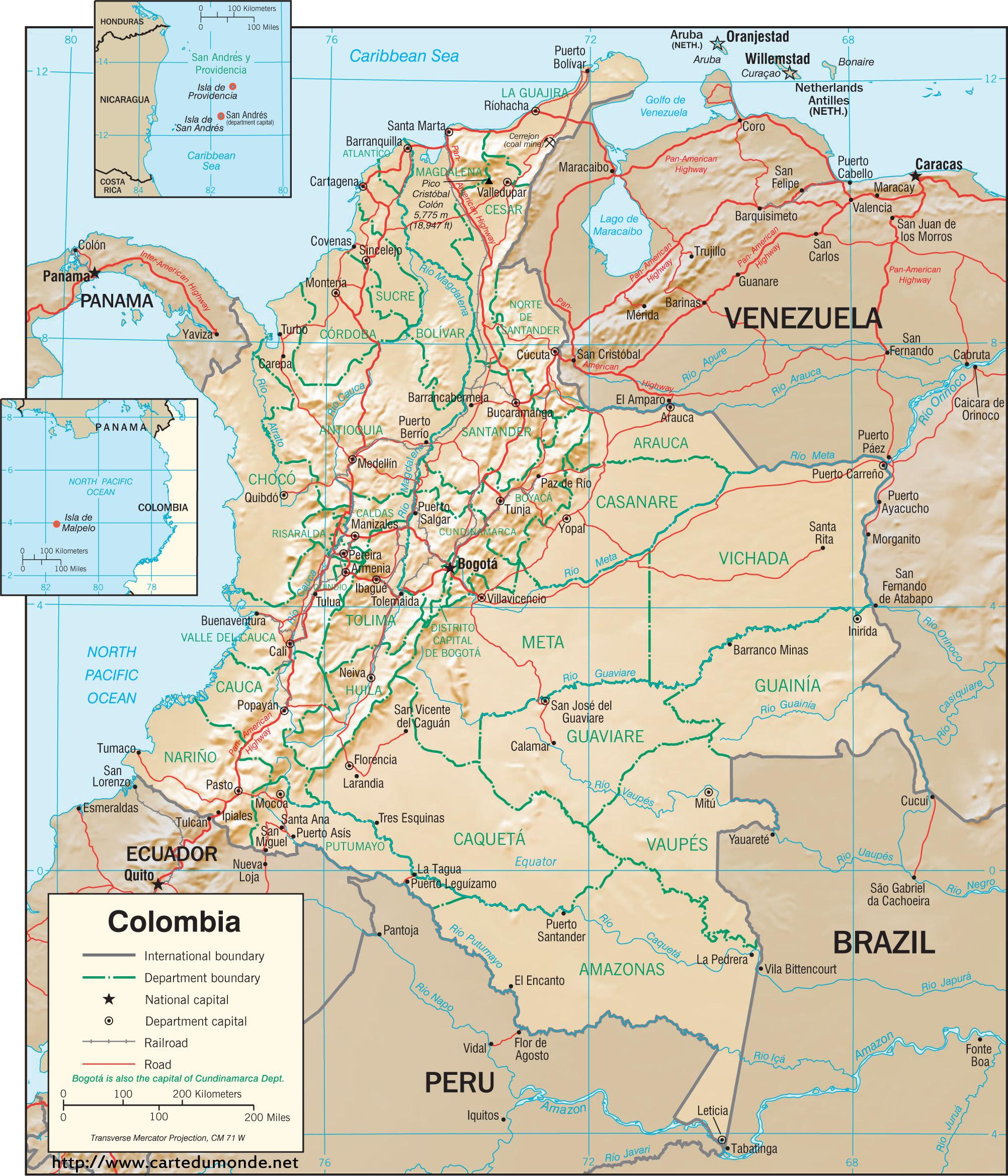 Kaart Colombia Land Kaart Colombia